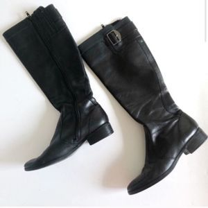 Marc Fisher Black Zip Up Buckle Riding Boots